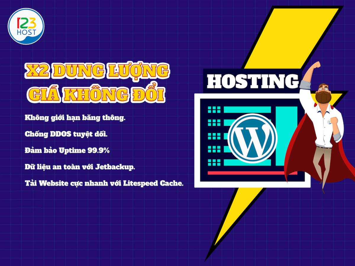 Thông báo nhân đôi dung lượng Wordpress Hosting
