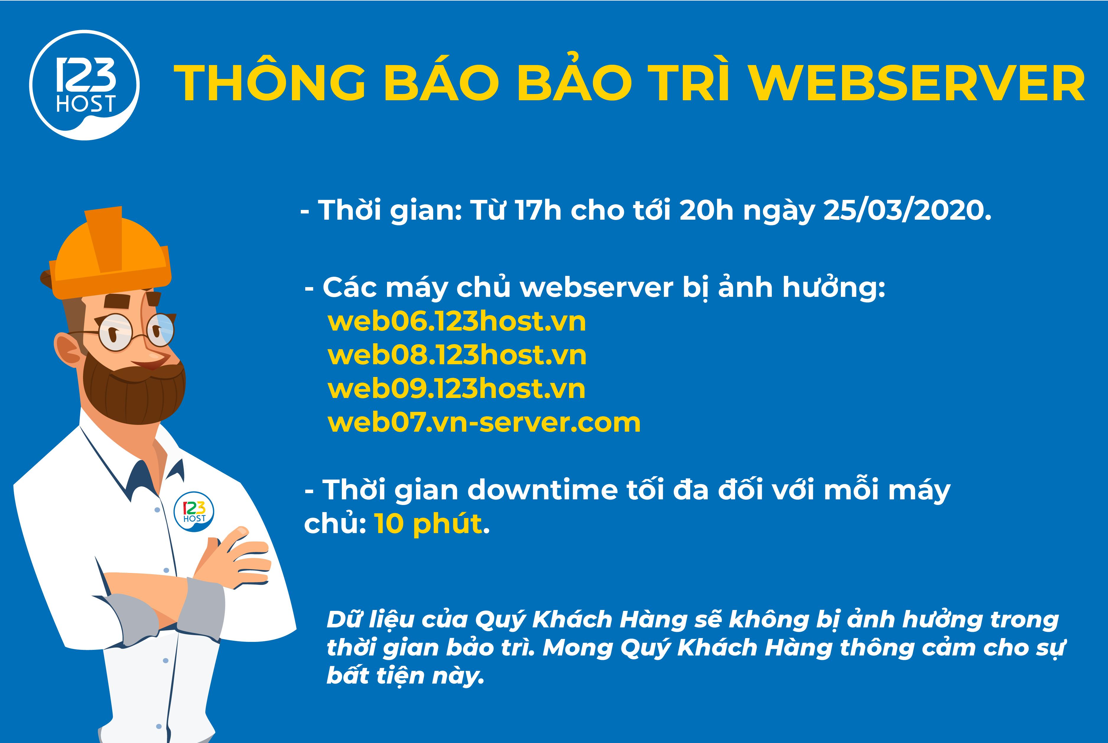 THÔNG BÁO BẢO TRÌ WEBSERVER