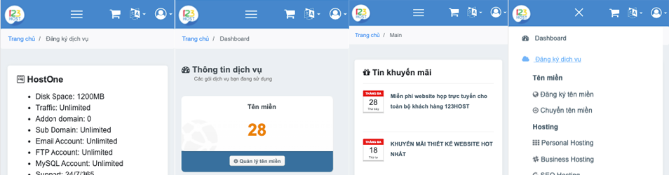 Giao diện mới cho client.123host.vn